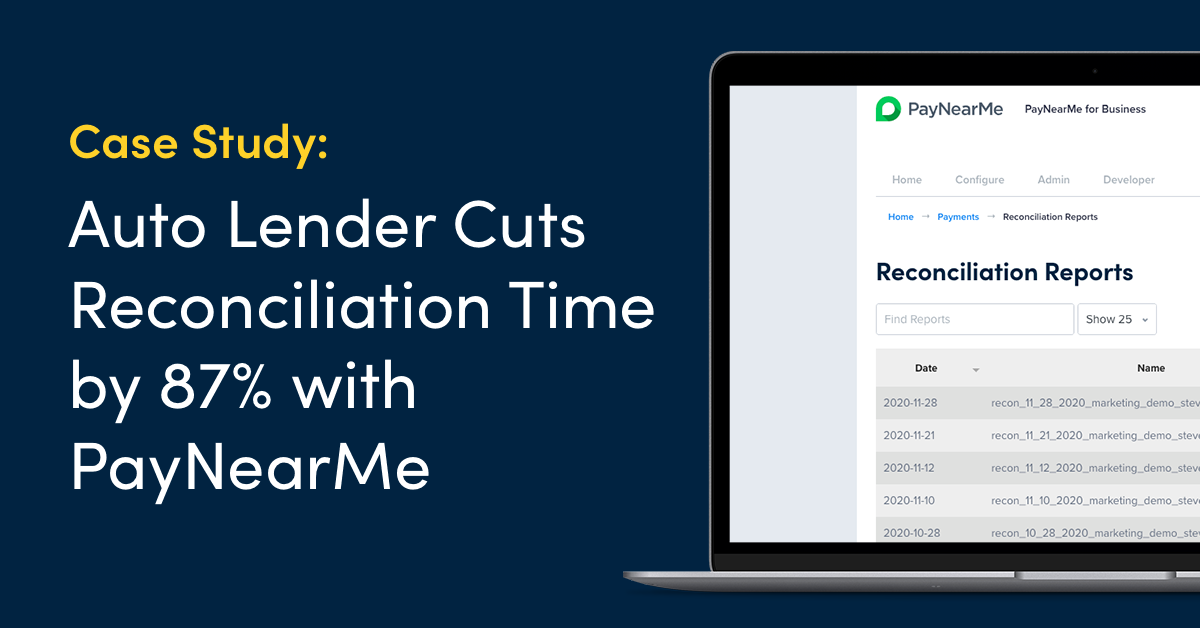 Case Study: Auto Lender Cuts Reconciliation Time by 87% with PayNearMe